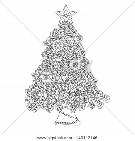 Decorative ornamental Christmas tree with artistic balls star and bows. Zentangle design. Coloring book page for adult anti stress coloring and other decoration. New year illustration.