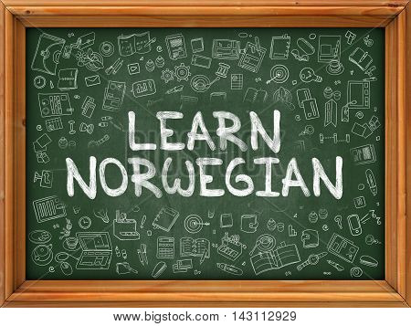 Hand Drawn Learn Norwegian on Green Chalkboard. Hand Drawn Doodle Icons Around Chalkboard. Modern Illustration with Line Style.