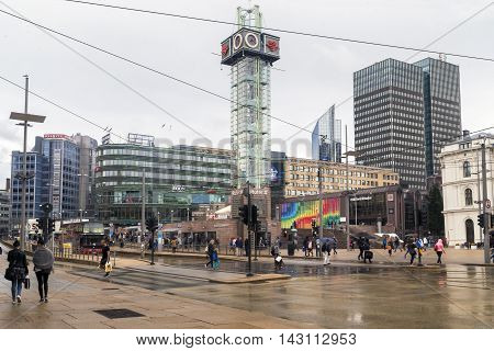 OSLO, NORWAY - JULY 1, 2016: Jernbanetorget is the Railway Square which is a large square in city in front of Oslo Central Station.