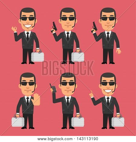 Vector Illustration, Security Guard Holding Gun and Suitcase, Format EPS 8