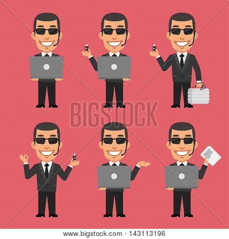 Vector Illustration, Security Guard Holding Laptop and Flash Drive, Format EPS 8
