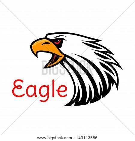 Bald Eagle head vector emblem. Crying hawk label for team mascot shield, icon, badge, label and tattoo. Falcon symbol for scout, sport, guard, club identity icon