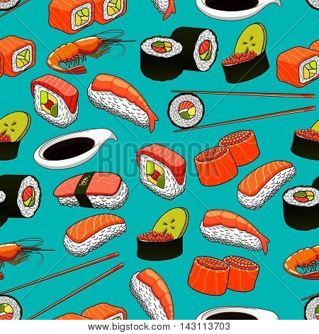 Seafood seamless background with vector pattern icons of sushi, rolls, maki, prawn, chopsticks, wasabi.