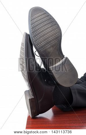 Closeup Of Businessman Feet With Leather Shoes