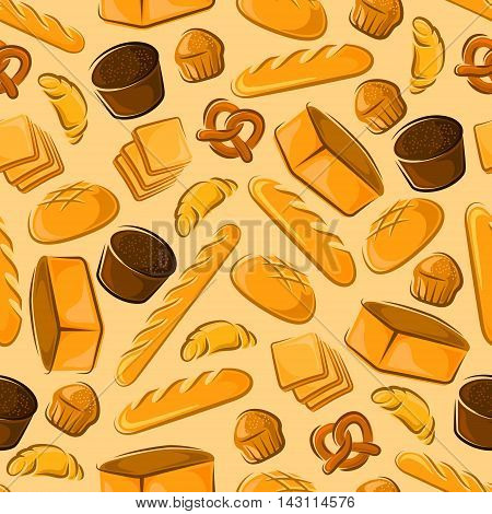 Bakery products seamless background. Wallpaper with vector pattern of croissant, sliced bread, baguette, muffin, bun, loaf, pretzel, bagel, pie for patisserie, cafe bakery pastry shop