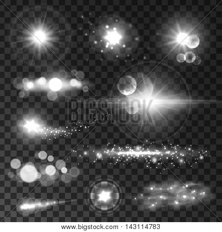 Glowing light flashes set. Sparkling stars and sun beams with lens flare effect on transparent background. Vector shining elements