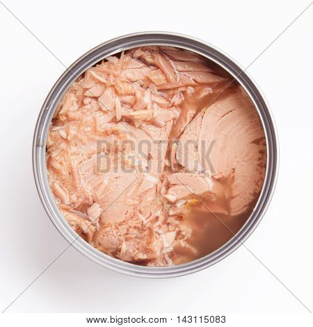 tuna, meal, tin, tinned, overhead, canned, open, can, closeup, isolated, whole, white, diet, snack, top, dinner, eat, pink, healthy, shiny, metallic, lunch, close, aluminum, steak, above, sea, background, container, nutrition, health, fish, protein, oil,