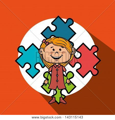 girl kids puzzle icon vector illustration graphic eps 10