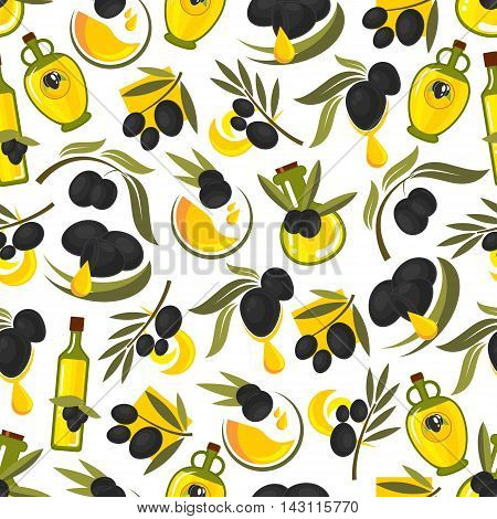 Black olives branches and olive oil seamless pattern background. Vector wallpaper for kitchen decoration, menu, tablecloth, tile