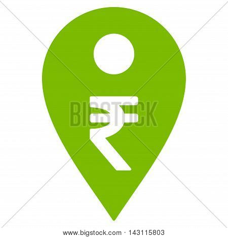 Rupee Map Marker icon. Vector style is flat iconic symbol with rounded angles, eco green color, white background.