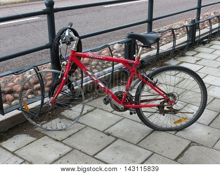 STOCKHOLM SWEDEN - CIRCA JUNE 2016: Bicycle aka bike or cycle withour front tire and flat back tire