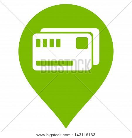Tickets Map Marker icon. Vector style is flat iconic symbol with rounded angles, eco green color, white background.