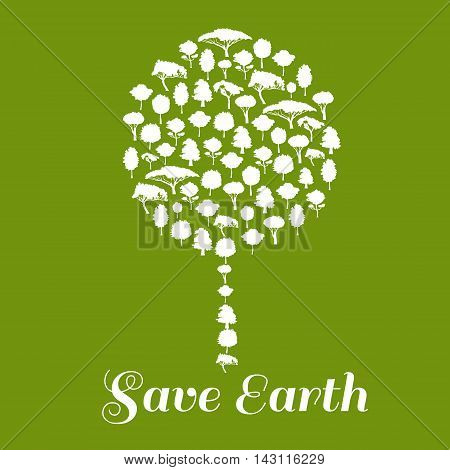 Save Earth poster. Green environment protection icon. Big tree symbol made of trees elements. Eco concept vector emblem