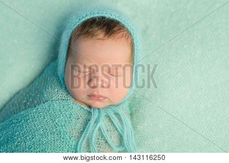 portrait of sleepy newborn baby with wrapped head and body in bleu woolen diaper