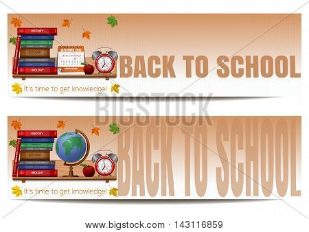 Two banners with school supplies. Back to school. It's time to get knowledge. Vector illustration