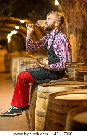 Handsome sommelier in apron and checkered shirt tasting wine sitting on the oak barrel in the old cellar.