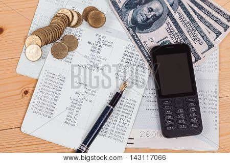 Saving account from bank with mobile for financial and loan