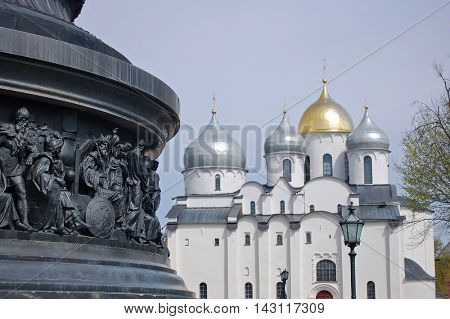 The monument Millennium of Russia with St. Sophia cathedral at background, Veliky Novgorod