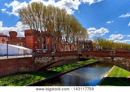 View to the Canal and Castle of Perpignan in springtime. Pyrenees-Orientales France