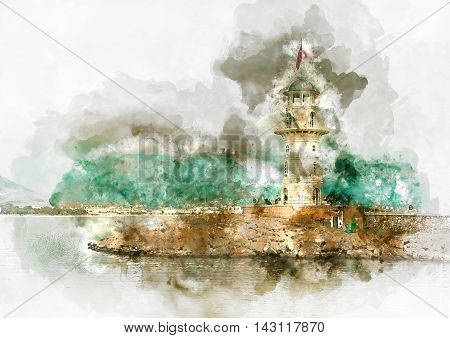 Digital watercolor painting of a lighthouse in port Alanya Turkey.