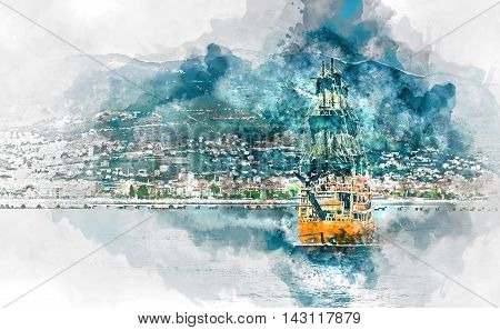 Beautiful landscape with sea mountain range and ship over Alanya city background Turkey. Digital watercolor painting.