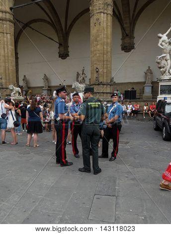 Italian And Spanish Vigilante Men In Florence