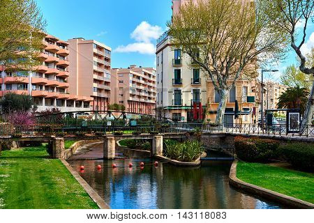 View to the Canal of Perpignan in springtime. Pyrenees-Orientales France
