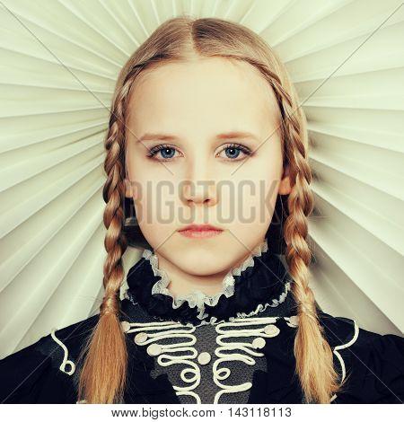 Fair hair beautiful girl with fashion hairstyle
