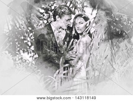 Beautiful couple in love hugging. Digital watercolor painting. Black and white.