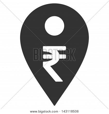 Rupee Map Marker icon. Vector style is flat iconic symbol with rounded angles, gray color, white background.