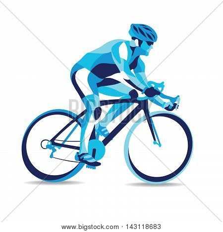 Trendy stylized illustration movement bicycle race line vector silhouette of bicycle race