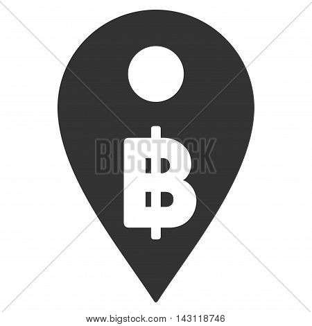 Thai Baht Map Marker icon. Vector style is flat iconic symbol with rounded angles, gray color, white background.