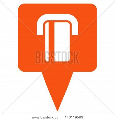 Bank Terminal Map Pointer icon. Vector style is flat iconic symbol with rounded angles, orange color, white background.