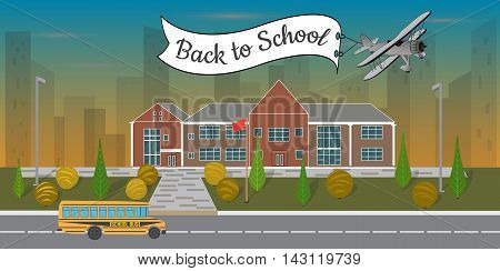 Bright flat illustration of school building and school bus, concept  back to school , vector illustration