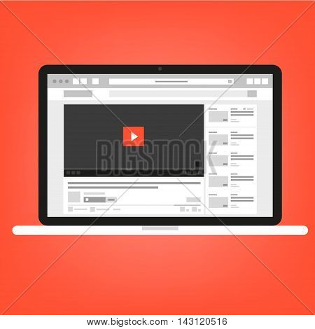 Vector video player in the website on red background