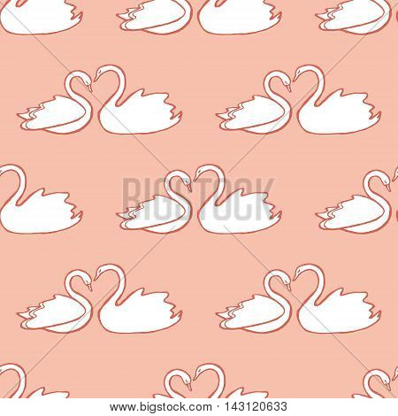 Couple of swans seamless pattern. Design element for wedding greeting card, valentines day invitation, honeymoon postcard. Vintage style, hand drawn pen and ink