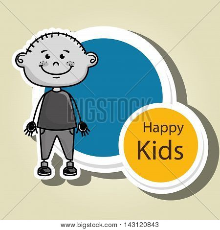 boy kids happy icon vector illustration graphic