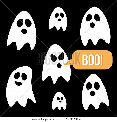 Flat design cartoon halloween ghosts set, collection on black background.