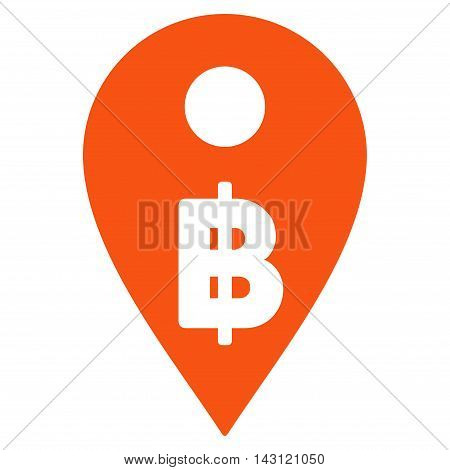 Thai Baht Map Marker icon. Vector style is flat iconic symbol with rounded angles, orange color, white background.