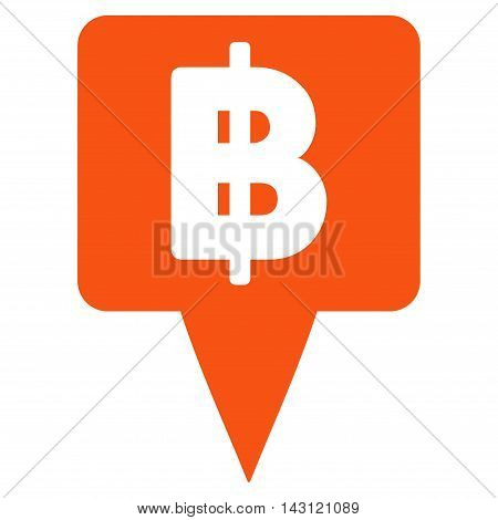 Thai Baht Map Pointer icon. Vector style is flat iconic symbol with rounded angles, orange color, white background.