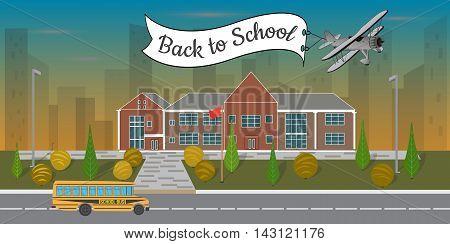 Bright flat illustration of school building and school bus, concept  back to school , vector illustration