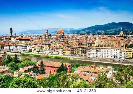 Florence Italy. Summer cityscape of italian city Firenze main cultural town of Tuscany. Palazzo Vecchio Cathedral Basilica Santa Croce.
