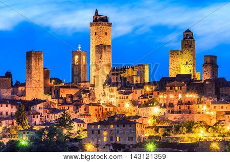 San Gimignano is a small walled medieval hill town in the province of Siena Tuscany north-central Italy.