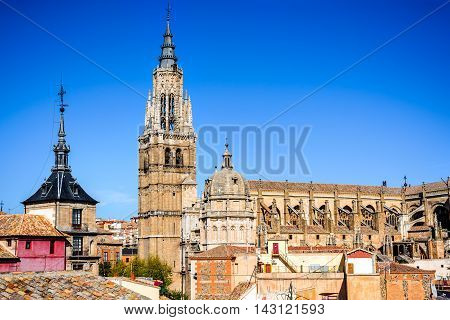 Toledo Spain. Primate Catedral in ancient city on a hill over the Tagus River Castilla la Mancha medieval attraction of Espana.