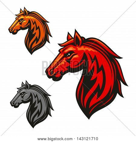 Fire horse stallion heraldic emblems. Red, yellow, gray horses vector icons for chess or sport club, team shield, icon, badge, label, tattoo