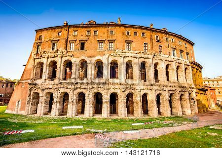 Rome Italy. Morning view to the Theatre of Marcellus (Italian: Teatro di Marcello) built in early Roman Republic.