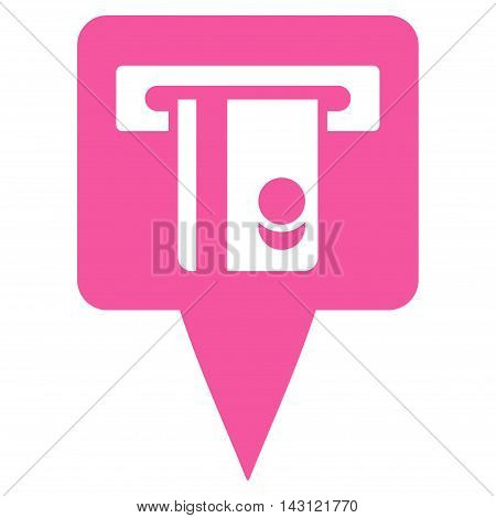 ATM Terminal Marker icon. Vector style is flat iconic symbol with rounded angles, pink color, white background.
