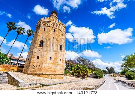 Seville Andalusia Spain - Torre del Oro (Tower of Gold) built by Almohad moorish dinasty near Guadalquivir river.