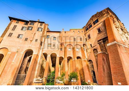 Rome Italy. Morning view to the Theatre of Marcellus (Italian: Teatro di Marcello) built in early Roman Republic.