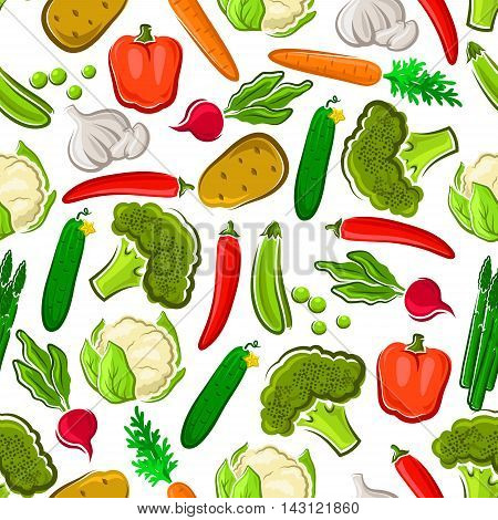 Vegetables seamless background. Wallpaper with vector pattern icons of fresh farm vegetarian carrot, cauliflower, broccoli, asparagus, pepper, cucumber, chili for grocery store, food market, product shop